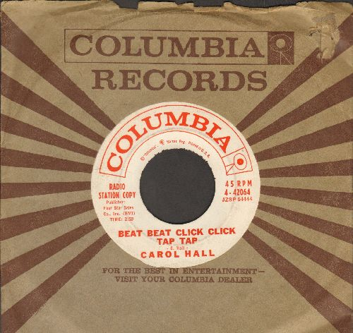 Hall, Carol - Beat Beat Click Click Tap Tap/I Wish I Was A Train (RARE vintage Beatnik 2-sider! - DJ advance pressing with Columbia company sleeve) - EX8/ - 45 rpm Records