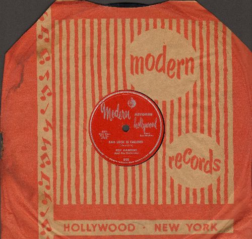 Hawkins, Roy & His Orchestra - Bad Luck Is Falling/The Condition I'm In (RARE 10 inch 78 rpm record with company cover, 1953 first pressing) - EX8/ - 78 rpm