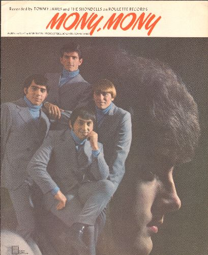 James, Tommy & The Shondells - Mony Mony - SHEET Music for the Vintage Rock Classic, NICE condition! - NM9/ - Sheet Music