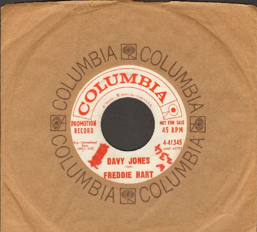 Hart, Freddie - Davy Jones/The Wall (DJ advane pressing with vintage Columbia company sleeve) (wol) - NM9/ - 45 rpm Records