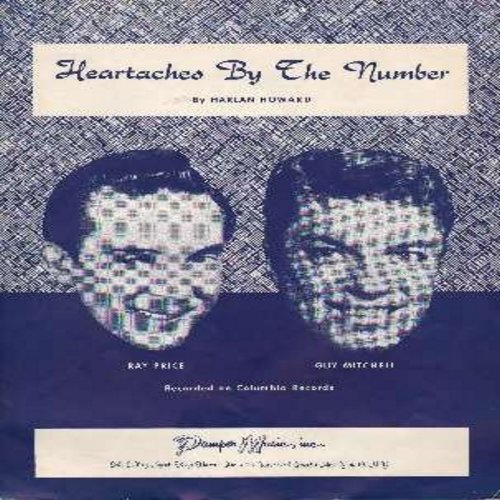 Price, Ray, Guy Mitchell - Heataches By The Number - Vintage SHEET MUSIC for the song made popular by Ray Price and even more successfully by Guy Mitchell. (THIS IS SHEET MUSIC, NOT ANY OTHER KIND OF MEDIA! Shipping same as 45rpm record) - EX8/ - Sheet Mu