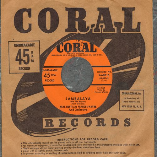 Hefti, Neal, vocal by Frances Wayne - Jambalaya/Two-Faced Clock (with vintage Coral company sleeve) - NM9/ - 45 rpm Records