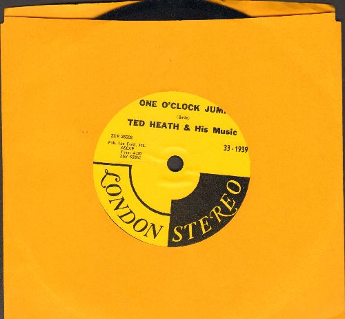 Heath, Ted & His Music - One O'Clock Jump/Intermission Riff (RARE 1958 STEREO Pressing, 7 inch 33 rpm record with small spindle hole) - NM9/ - 45 rpm Records