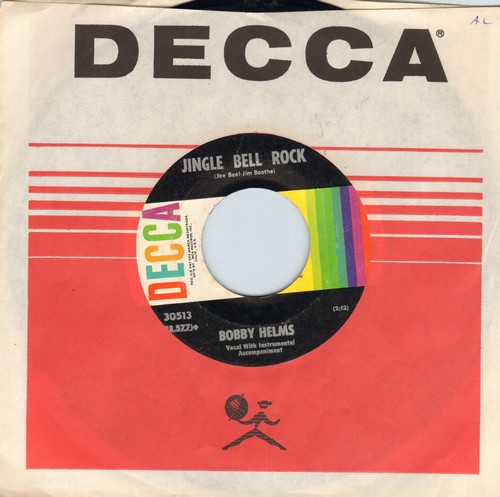 Helms, Bobby - Jingle Bell Rock/Captain Santa Claus (with Decca company sleeve) - EX8/ - 45 rpm Records