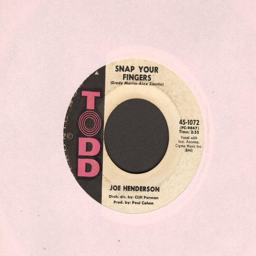 Henderson, Joe - Snap Your Fingers/If You See Me Cry  - EX8/ - 45 rpm Records