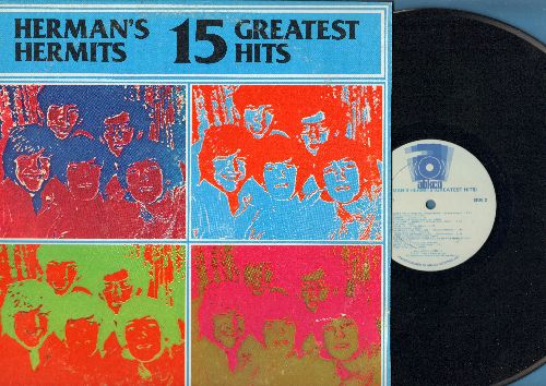 Herman's Hermits - 15 Greatest Hits: Mrs. Brown You've Got A Lovely Daughter, I'm Henry VIII I Am, Silhouettes, Wonderful World, There's A Kind Of Hush (vinyl LP record) - NM9/VG7 - LP Records