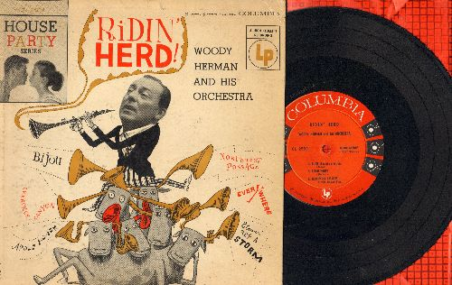Herman, Woody & His Orchestra - Ridin' Herd!: Bijou, Apple Honey, Northwest Passage, Everywhere, Blowin' Up A Storm, Cherokee Canyon (RARE 10 inch 33rpm vinyl LP record with picture cover) - EX8/VG7 - LP Records