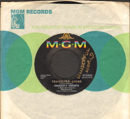 Herman's Hermits - Wonderful World/Traveling Light (RARE factory-mislabeling, same label both sides - with MGM company sleeve) (wol) - NM9/ - 45 rpm Records