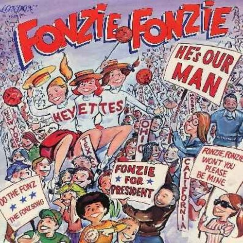 Heyettes - Fonzie, Fonzie, He's Our Man: Fonzie For President, Arnold's Theme, Cruisin' On A Saturday Night, Red Hot Honey, Happy Days, Sit On It, Fonzie Fonzie Won't You Please Be Mine (vinyl STEREO LP record, upper right corner of cover clipped off) - N