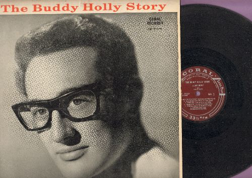 Holly, Buddy - The Buddy Holly Story: Peggy Sue, Maybe Baby, Everyday, That'll Be The Day, Heartbeat, Oh Boy (vinyl MONO LP record, burgundy label first pressing) - EX8/VG7 - LP Records