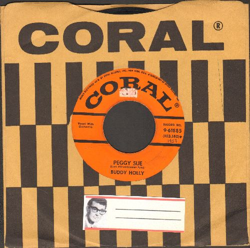 Holly, Buddy - Peggy Sue/Everyday (first pressing with vintage Coral company sleeve) - VG7/ - 45 rpm Records