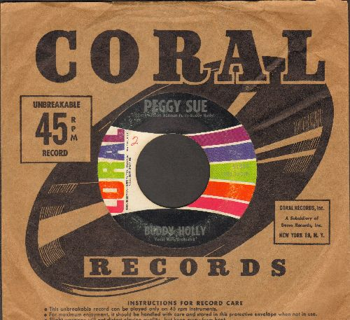 Holly, Buddy - Peggy Sue/Everyday (multi-color label second pressing with Coral company sleeve) - VG7/ - 45 rpm Records
