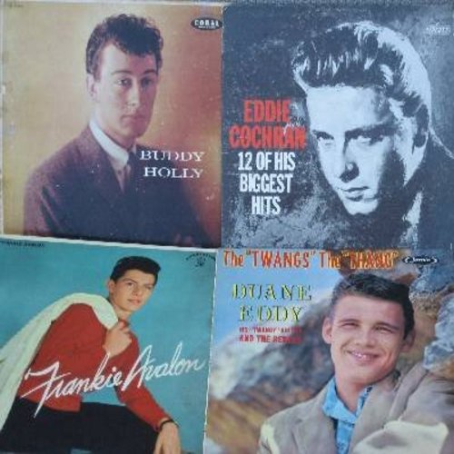 Holly, Buddy, Eddie Cochran, Frankie Avalon, Duane Eddy - 4 RARE Vintage LP covers, EXACTLY AS PICTURED. Covers have NO vinyl albums! GREAT for framing, decorating or to replace missing/damaged LP covers. Very good or better condition! - /VG7 - Supplies