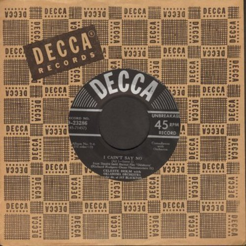 Holm, Celeste - I Can't Say No (from -Oklahoma-)/Pore Jud Is Daid by Alfred Drake and Howard Da Silva (with Decca company sleeve) - NM9/ - 45 rpm Records