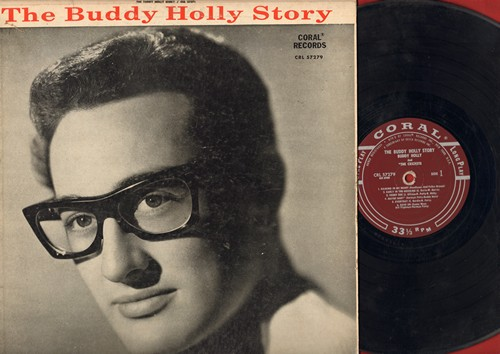 Holly, Buddy - The Buddy Holly Story: Peggy Sue, Maybe Baby, Everyday, That'll Be The Day, Heartbeat, Oh Boy (vinyl MONO LP record, burgundy label first pressing) - G5/VG7 - LP Records