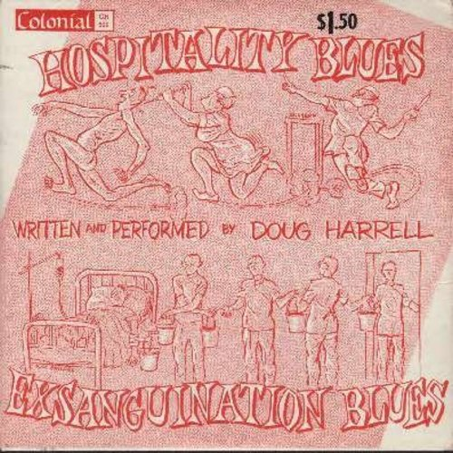 Harrell, Doug - Hospitality Blues/Exsanguination Blues  - NM9/VG7 - 45 rpm Records