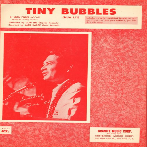 Ho, Don - Tiny Bubbles - SHEET MUSIC for the song made popular by Don Ho (This is SHEET MUSIC, not any other kind of media) - EX8/ - Sheet Music