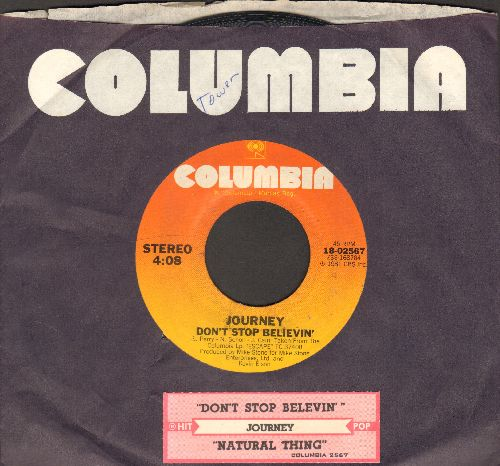 Journey - Don't Stop Believin'/Natural Thing (with Columbia company sleeve and juke box label) - EX8/ - 45 rpm Records