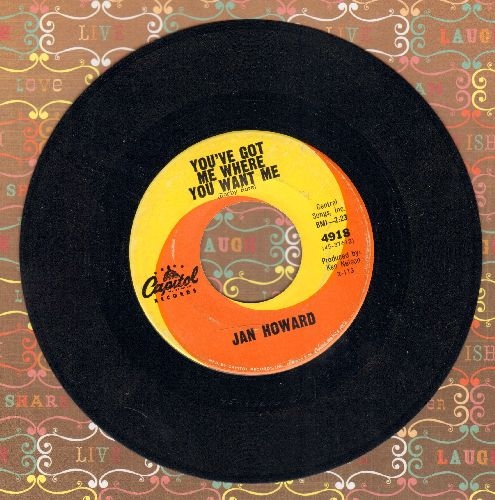 Howard, Jan - You've Got Me Where You Want Me/Wind Me Up (I Cry) - EX8/ - 45 rpm Records