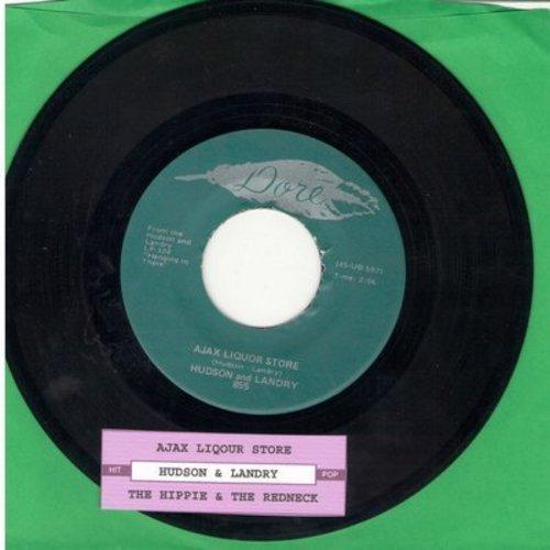 Hudson & Landry - Ajax Liquor Store/The Hippie & The Redneck  - EX8/ - 45 rpm Records