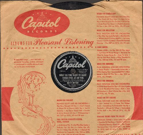 Hutton, Betty - What Do You Want To Make Those Eyes At Me For/Doin' It The Hard Way (10 inch 78 rpm record with Capitol company sleeve) - VG7/ - 78 rpm