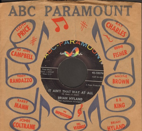Hyland, Brian - It Ain't That Way At All/I May Not Live To See Tomorrow (with vintage ABC-Paramount company sleeve) - EX8/ - 45 rpm Records