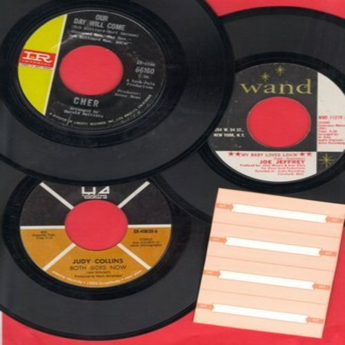 Cher, Judy Collins, Joe Jeffrey - 60s Flower Power 3-Pack - first pressings. Hits include Our Day Will Come, Both Sides Now, My Baby Loves Lovin' - shipped in plain white paper sleeves with 4 blank juke box labels. - EX8/ - 45 rpm Records