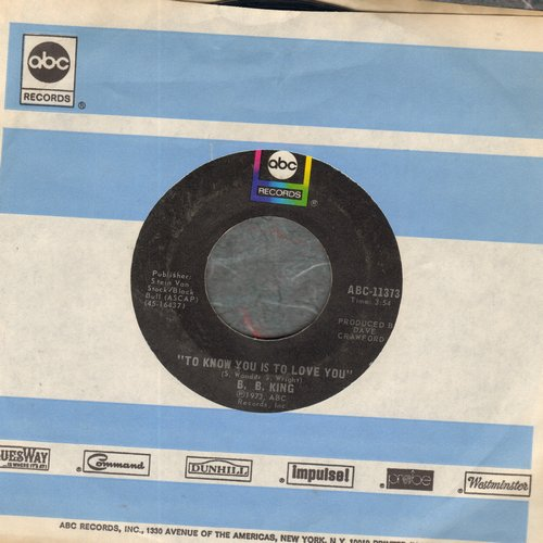 King, B. B. - To Know You Is To Love You/I Can't Leave (with ABC company sleeve) - EX8/ - 45 rpm Records