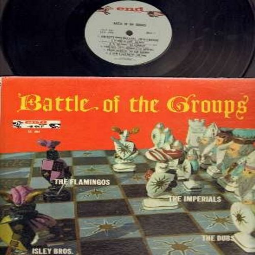 Isley Brothers, Dubs, Flamingos, Imperials - The Battle Of The Groups: Everybody's Gonna Rock & Roll, At The Prom, Rockin McDonald, The Drag, Chapel Of Dreams, Song In My Heart (vinyl MONO LP record, white label, red logo, wiener dog chasing wiener dog) -
