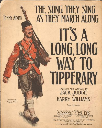 It's A Long, Long Way To Tipperary - It's A Long, Long Way To Tipperary - RARE VINTAGE SHEET MUSIC for the British WWI Marching Song, suitable for framing! - VG7/ - Sheet Music