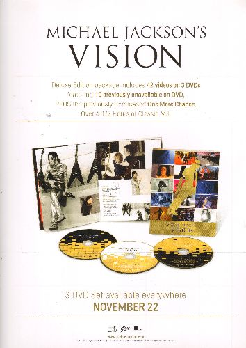 Jackson, Michael - Michael Jackson's Vision LIMITED EDITION 12 X 18 inch 2-sided store-display Poster in heavy polypropylene protective sleeve. COLLECTOR'S ITEM! - NM9/ - Poster
