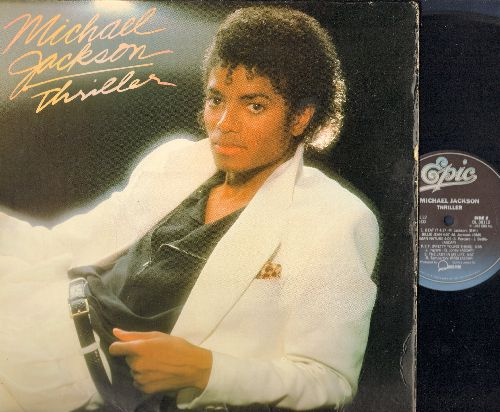 Jackson, Michael - Thriller: Billie Jean, Wanna Be Startin' Somethin', Beat It, Human Nature, P.Y.T., The Girl Is Mine (with Paul McCartney) (vinyl STEREO LP record, gate-fold cover) - EX8/VG7 - LP Records