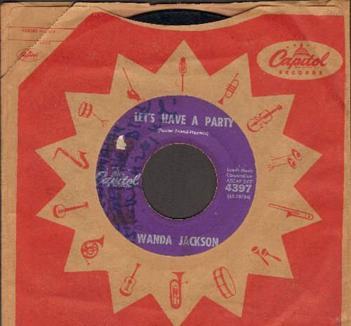 Jackson, Wanda - Let's Have A Party/Cool Love (with vintage Capitol company sleeve, heavy wol) - VG6/ - 45 rpm Records