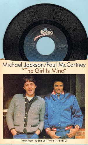 Jackson, Michael & Paul McCartney - The Girl Is Mine/Can't Get Outa The Rain (with picture sleeve) - M10/EX8 - 45 rpm Records