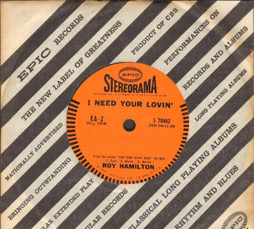 Hamilton, Roy - I Need Your Lovin'/Dreams Oh Dreams (RARE 7inch vinyl 33rpm STEREO pressing with small spindle hole, with vintage Epic company sleeve) - NM9/ - 45 rpm Records