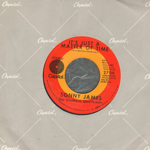 James, Sonny - It's Just A Matter Of Time/This World Of Ours (with Capitol company sleeve) - EX8/ - 45 rpm Records
