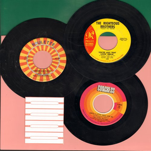 Righteous Brothers, Flying Machine, Tommy James & The Shondells - Dreamy 60s 3-Pack: You've Lost That Lovin' Feelin'/Crimson And Clover/Smile A Little Smile For Me - First pressings with 4 blank juke box labels. GREAT for a Juke Box! - EX8/ - 45 rpm Recor