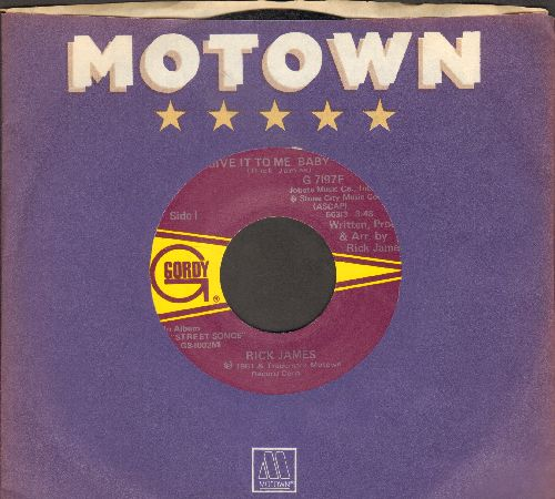James, Rick - Give It To Me Baby/Don't Give Up On Love (with Motown company sleeve) - NM9/ - 45 rpm Records