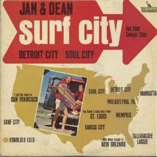 Jan & Dean - Surf City And Other Swingin' Cities: Memphis, Detroit City, Kansas City, Honolulu Lulu, I Left My Heart In San FranciscoTallahassee Lassie, Soul City (vinyl STEREO LP record) - VG7/VG7 - LP Records