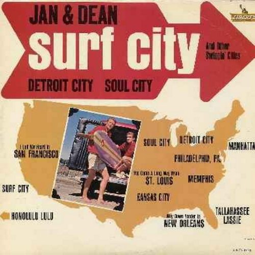 Jan & Dean - Surf City And Other Swingin' Cities: Memphis, Detroit City, Kansas City, Way Down Yonder In New Orleans, Honolulu Lulu, I Left My Heart In San Francisco (vinyl MONO LP record) - VG7/VG7 - LP Records