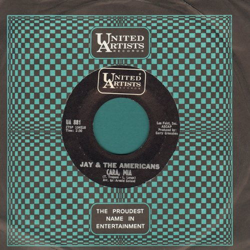 Jay & The Americans - Cara, Mia/When It's All Over (with United Artists company sleeve) - VG7/ - 45 rpm Records