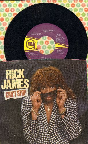 James, Rick - Can't Stop/Oh What A Night (4 Luv) (with picture sleeve) - EX8/EX8 - 45 rpm Records