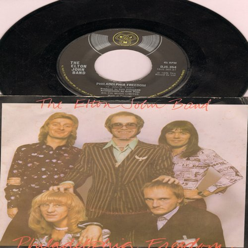 John, Elton - Philadelphia Freedom/I Saw Her Standing There (with John Lennon) (British Pressing with picture sleeve, song lyrics on back) - NM9/VG7 - 45 rpm Records