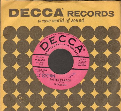 Jolson, Al - Easter Parade/Remember (pink label DJ advance pressing with vintage Decca company sleeve)(minor wol) - EX8/ - 45 rpm Records
