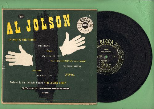 Jolson, Al - Al Jolson In Songs He Made Famous: April Showers/Swanee/California, Here I Come, You Made Me Love You, My Mammy (10 inch 33rpm LP with picture cover) - VG7/VG6 - LP Records