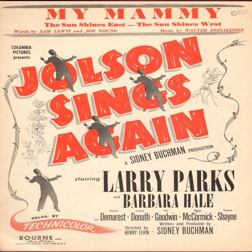 Jolson, Al - My Mammy - Vintage SHEET MUSIC for Al Jolson's Classic as featured in film -Jolson Sings Again- (This is SHEET MUSIC, not any other kind of media!) - EX8/ - Sheet Music