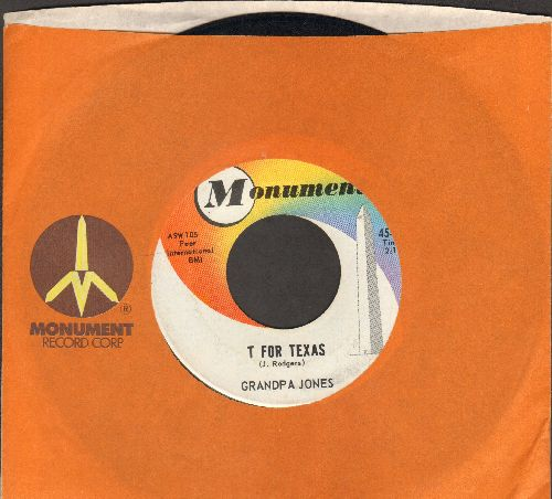 Granpa Jones - T For Texas/Tritzem Yodel (with Monument company sleeve) - EX8/ - 45 rpm Records