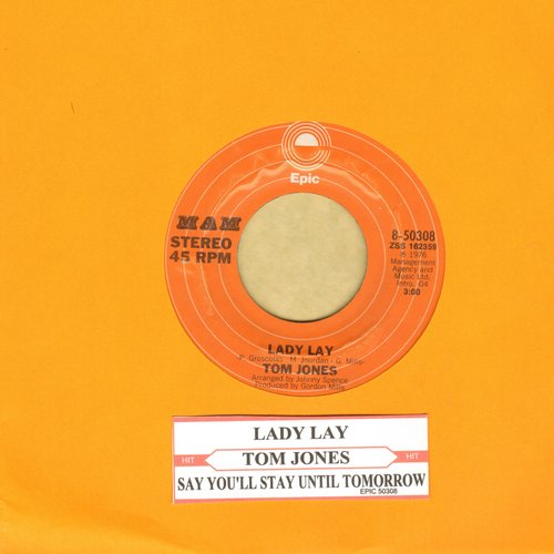 Jones, Tom - Lady Lay/Say You'll Stay Until Tomorrow - NM9/ - 45 rpm Records