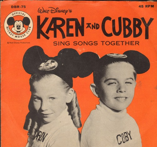 Karen & Cubby - Bidin' My Time/Rollin' Stone/What The Well Dressed Hobo/Will Wear (vinyl EP record with picture cover, NICE cover portrait of Mouseketeers Karen & Cubby) - EX8/EX8 - 45 rpm Records
