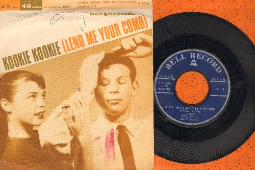 Kaye, Sandy & Johnny Newton - Kookie, Kookie (Lend Me Your Comb)/Kansas City (by Johnny Newton & The Tags on flip-side) (contemposrary cover versions of hits, with picture cover) - EX8/VG7 - 45 rpm Records